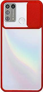 غطاء خلفي بلاستيكي لهاتف Infinix Hot 10 Lite X6658B مع حامي كاميرا منزلقة وحواف سيليكون - شفاف باللون الأحمر