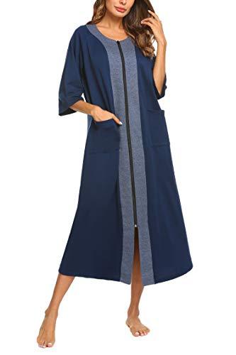 Ekouaer Women Half Sleeve Sleepwear Zip-Front A-line Bathrobe Long Robe Plus Size Nightgown with Pockets (Navy Blue,XL)