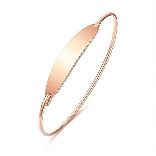 NA Pulsera de acero inoxidable para mujer, color dorado y plateado, con colgante personalizable, color oro rosa