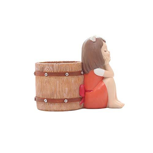 Macetas Decorativas Macetas creativa linda muchacha de la historieta de la maceta animal de la resina suculento de Planter Escritorio Mini ornamento (chica púrpura vestido) Plantador ( Color : B )