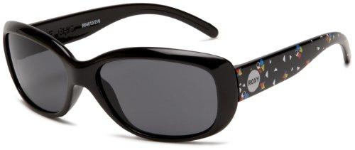 Roxy Girls' Dixie Chic Oval Sunglasses, Black Print Frame/Grey Lens, one size