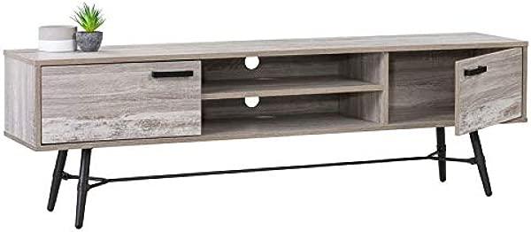 CorLiving Aurora 仿旧浅灰色电视长凳,适用于高达 80 台的电视