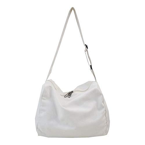 Bolso bandolera de lona para hombre y mujer, blanco (Blanco), Large