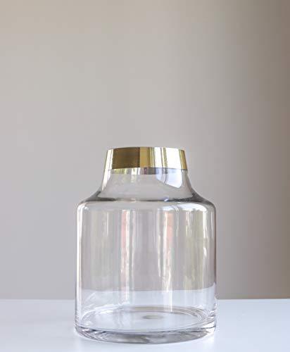 Stylische Glasvase mit goldenem Label, 19cm Höhe