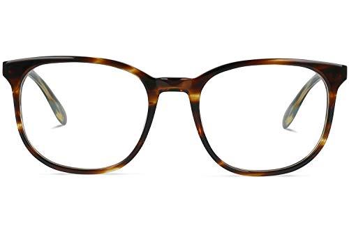 Brille mit wählbare Sehstärke (inkl. Zylinder) | Harper | Quadratische Brille aus Italienischen Acetat | Braun | Charlie Temple