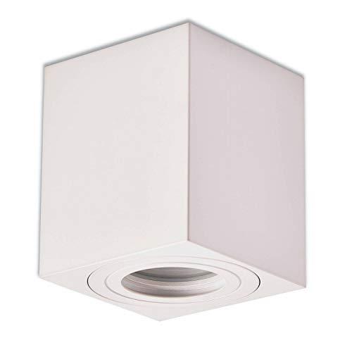 Trano LED Aufbauleuchte Aufbaustrahler GU10 230V weiß 7 Watt warmweiß – Aufbau-spot IP44 für Bad/Außen als Deckenleuchte und Deckenstrahler – mit Leuchtmittel Strahler Aufbau-lampe