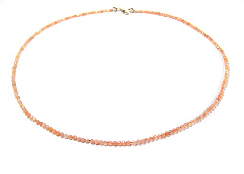 Damen Halskette Edelsteinkette aus Edelstein Sonnenstein in facettierter Kugelform Ø-3 mm