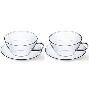 チェコ製 耐熱ガラス SIMAXサイマックス ティーカップ&ソーサー2個(カップ×2、ソーサー×2)セット2562-4272/2