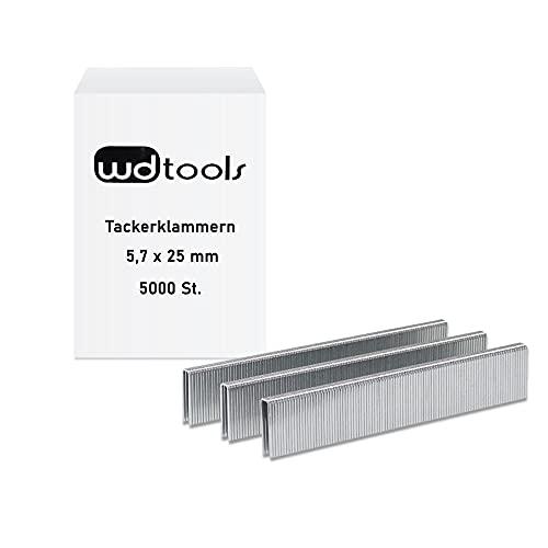 WD Tools Tackerklammern Klammern zu Drucklufttacker 5,7 x 25mm (Rückenbreite x Länge) 5000 Stück
