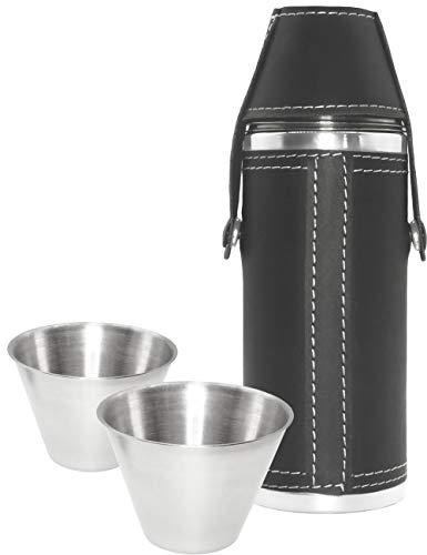 Outdoor Saxx® - 3-teiliges Leder Flachmann-Set, 230 ml Schnaps-Flasche, Trink-Flasche und 2 Schnaps-Becher aus Edelstahl in praktischem Set, Tolle Geschenk-Idee, schwarz