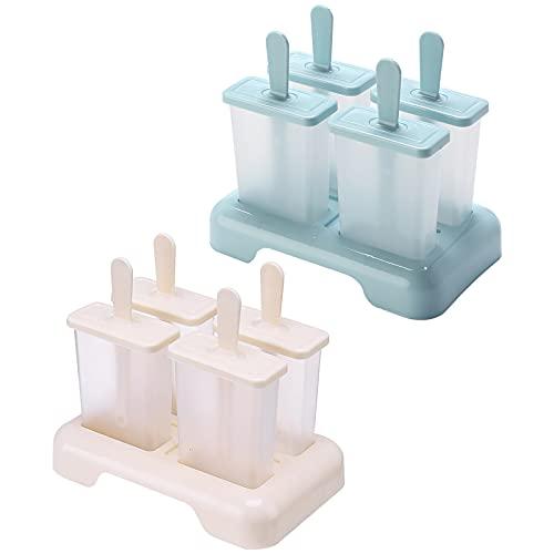 DIY Popsicle Mold - Reutilizable Molde Helado Plástico, Frozen Poleras Helado con Juego de Moldes 8 Pack con Embudo, Hacer Helados Caseros para Niño y Adultos