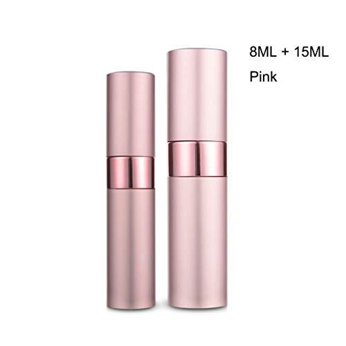 Love lamp 15ml sous-Bouteille Parfum Voyage Rechargeables Atomiseur Bouteille Bouteille en Aluminium Body Spray délicat Peut être transporté Partout (Color : Pink 8ml+15ml)