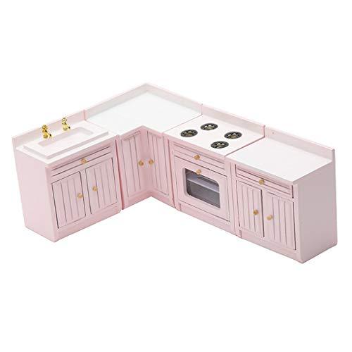 sharprepublic 1/12 Casa de Muñecas Juego de Gabinete de Cocina de Madera Moderno Muebles para El Hogar Decorativos