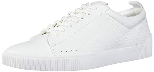 Hugo Boss BOSS Green Men's Leather Sneakers with Rubber Sole, White, 10 M US