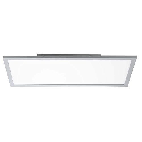 LED Deckenleuchte dimmbar Aufbau LED Deckenpanel LED Deckenlampe flach, Aufbau, silber, 35 Watt 2800 Lumen warmweiß, H 7 cm, Wohnzimmer Küche