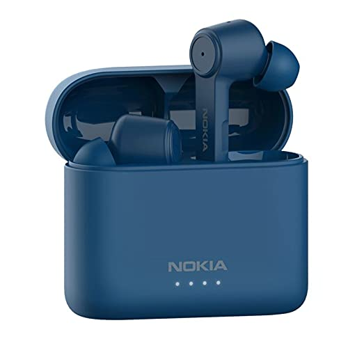 Nokia BH 805 Auriculares con Cancelación de Ruido, Auriculares Inalámbricos Bluetooth, 20 Horas de Reproducción, Resistencia al Agua IPX5, Controles Inteligentes, Estuche de Carga Rápida, Azul