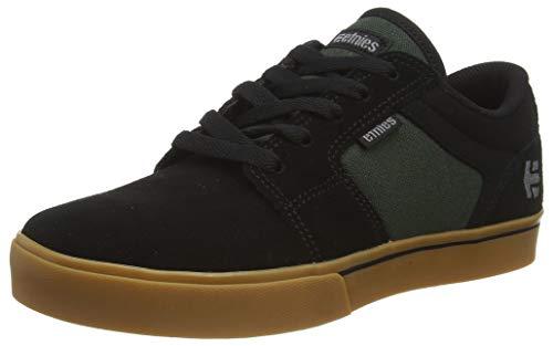 Etnies Boys Barge LS Skate Shoe, Black/Green/Gum, 4.5c Medium US Big Kid