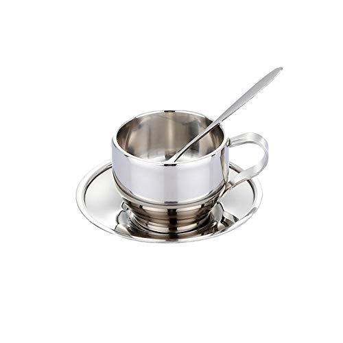 2 Edelstahl-Kaffeetassen-Set, Premium-Teetasse mit Löffel und Untertasse, verdicktem Henkel und Tassenboden, für Kaffee-Milch-Tee - 125 ml