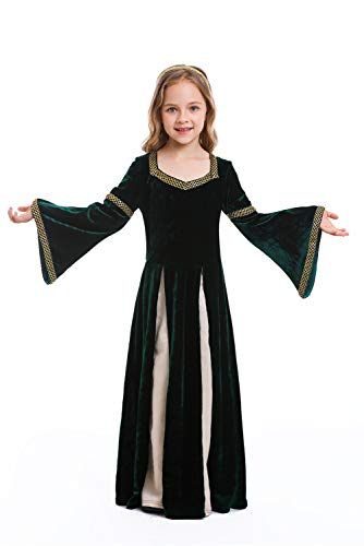 Dark Paradise Girls Medieval Dress Renaissance Costume Kids Green Halloween Cosplay Robe Gown 4-12T