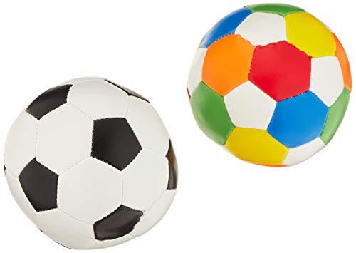 alldoro 60305 Softball Ø 10 cm, 1 Fußball 1 Ball, Softfußball aus Schaumstoff, Kinderball für Drinnen und Draußen, Spielball für Kinder und Babys ab 0 Monaten, 2er Set Schwarz/Weiß + Bunt