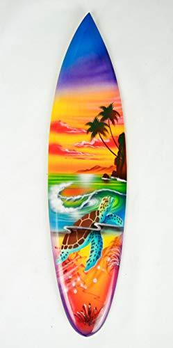 Asia Design Tabla de surf en miniatura con soporte de madera, decoración n.º 14 (30 cm)
