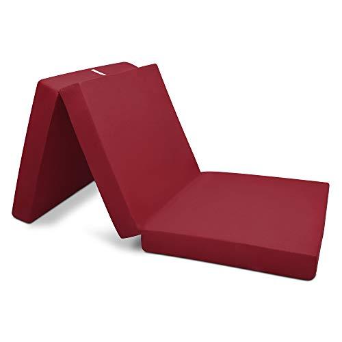 Beautissu Matelas Pliant d'appoint Campix - Pouf Pliable - 80 x 195 cm - Confortable lit d'invité - Futon - Rouge foncé