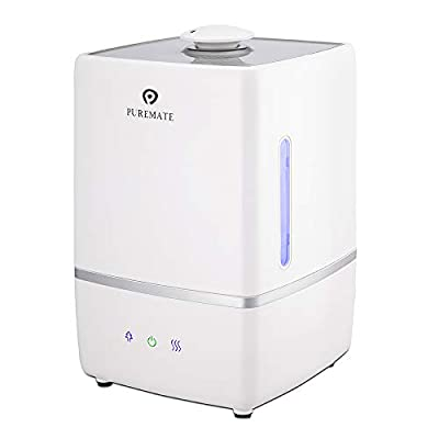 PureMate 5L Ultrasonic Cool & Hot Mist Humidifier with Ioniser and Aroma Diffuser Tray - Auto Shut-Off with 5 Litre Water Tank Capacity, 30 Watts, Powerful for Large Room 30m²