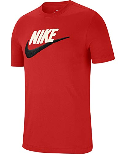 Nike Sportswear Men's Swoosh Logo T Shirt (Red/White/Black, X-Large)