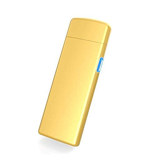 THE NAMCHE BAZAR USB Feuerzeug elektronisches aufladbar, Flamme ohne Gas. Premium-Qualität mit Geschenk-Box. Ultra-feine. SturmFeuerzeug Golden