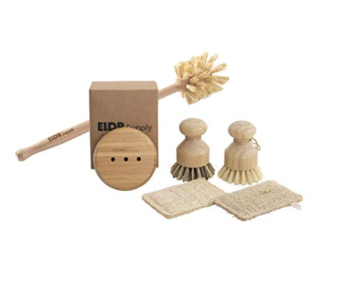 Zero Waste Dish Cleaning Kit with Bottle Brush. Multi Surface Dish Brushes, Natural Loofah Sponges, and a Bamboo Soap Tray.