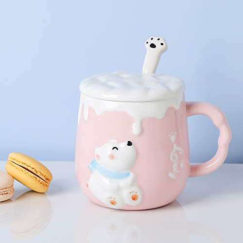 HRDZ Taza con Tapa Cuchara Taza de cerámica Mujer Linda Pareja Taza de Agua hogar Personalidad Creativa Taza de Desayuno