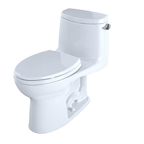 TOTO MS604114CEFRG#01 UltraMax II One-Piece Elongated 1.28 GPF Universal Height Toilet with Right-Hand Lever and CEFIONTECT, Cotton White