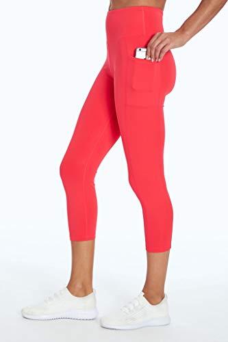 Bally Total Fitness Leggings mit hoher Taille und Tasche, mittelhoch, Korallenrot, Größe M