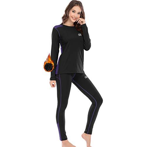 MEETWEE Conjuntos térmicos Mujer, Set de Ropa Térmica Mujer Ropa Interior para esquí Funcional para Transpirable, cálida y de Secado rápido