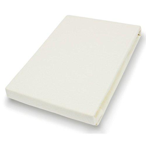 Elastan fijn jersey hoeslaken afmetingen: 150 cm x 200 cm, kleur: ecru