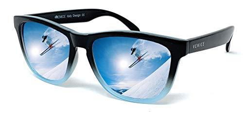 VENICE EYEWEAR OCCHIALI Gafas de sol unisex polarizadas con protección 100% UV400 (Negro Azul)