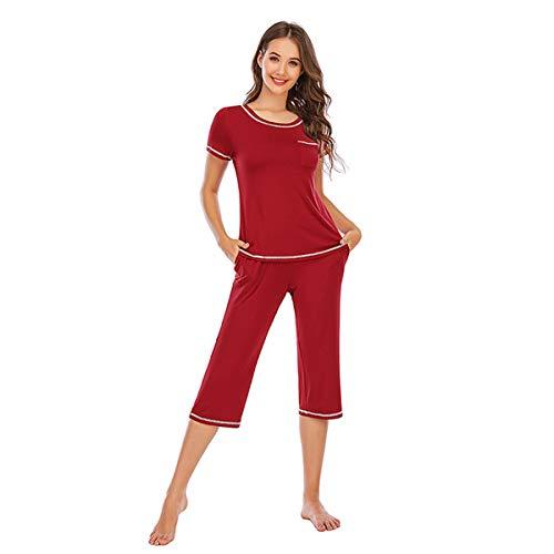 LZJDS Damen-Pyjama-Set, Modal, kurzärmelig, Loungewear, O-Ausschnitt, Oberteil mit...