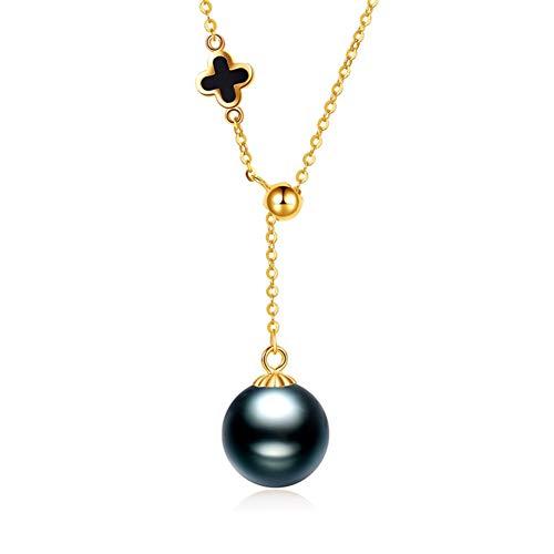 HLMAX Collar Colgante De Oro 18K Perla Negra De Tahití De 8-9 Mm Los Mejores Regalos para Fiestas, Bodas, Aniversarios, Compromisos, Cumpleaños