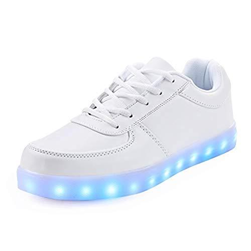 Rojeam Unisex Erwachsene LED Schuhe Sportschuhe USB Lade Outdoor Leichtathletik Beiläufige Paare Schuhe Sneaker Weiß 38 EU