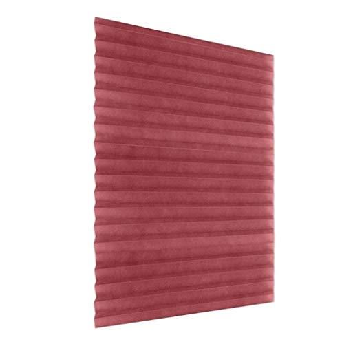 LYEC3 Vertical Pleated Blinds Fabric Shade Pleated Curtain Instant Temporary Privacy Blinds Roller No Drilling Temporary Pleat Paper Blinds Window Shades (Color : Red, Size : 90x180cm)
