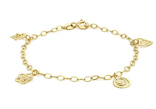 Carissima Gold 9ct Yellow Gold 4 Charm Bracelet of 18cm/7'