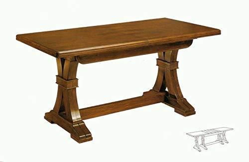 Tavolo Allungabile fino a 360 cm, Noce, Arte Povera, con 4 Allunghe da 45 cm. - Mis. 180×85x75 cm.