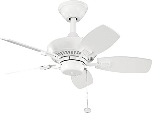 """Kichler 300103WH, Canfield White Powder Coat 30"""" Outdoor Ceiling Fan"""