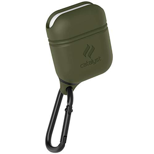 Catalyst Airpods Hülle - Stoß und Fallfeste Airpods Schutzhülle, Wasserdicht und Weich auf der Haut, Anti-Lost Karabinerhaken, Silikonabdichtung, Hochwertigen für Apple Kopfhöhern Zubehör, Armeegrün