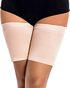 Memoryee Bandas elásticas para Muslos Bandas Deportivas Anti-Rozaduras para piernas con Calcetines de Silicona Antideslizantes/Beige-1 Pair/M(59-63cm)