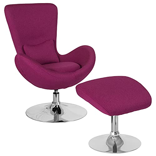 Flash Furniture Egg Series Magenta Fabric Side Reception Chair with Ottoman