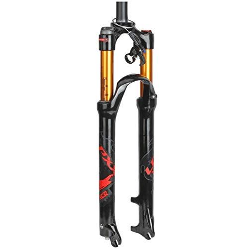LSRRYD Horquilla Bicicleta 26 27.5 29 In Amortiguador Aire MTB Suspensión Bicicleta Tubo Recto/Cono Hombro/Control Remoto Freno Disco Recorrido 100mm QR 9mm (Color : C, Size : 29inch)