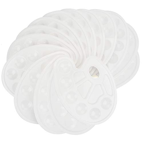Tosnail 15 Pack White Paint Tray Palettes with Ten-Well Thumb Holes