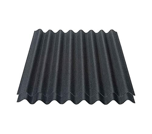 Onduline Easyline Dachplatte Wandplatte Bitumenwellplatten Wellplatte 2x0,76m² - schwarz