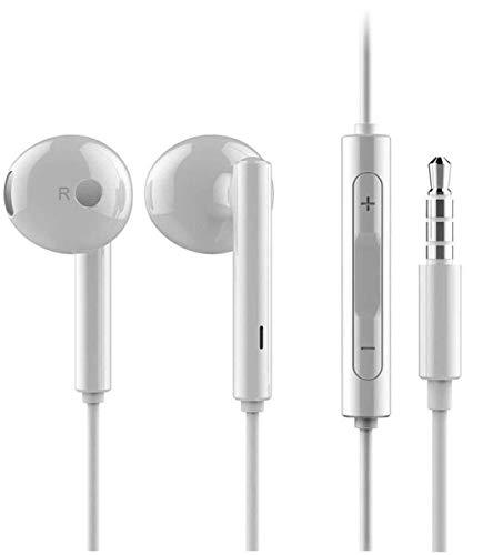 Original Huawei Kopfhörer 2er Set AM115 Weiß In-Ear Earphones 3,5mm Klinkenstecker verknotungsfreies Kabel integriertes Mikrofon Wippschalter für Lautstärkeregelung hochwertiger Klang